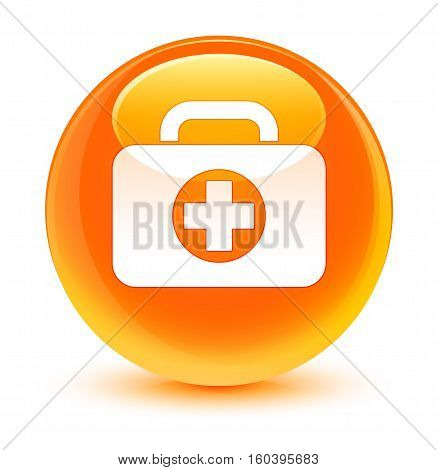 First Aid Kit Bag Icon Glassy Orange Round Button