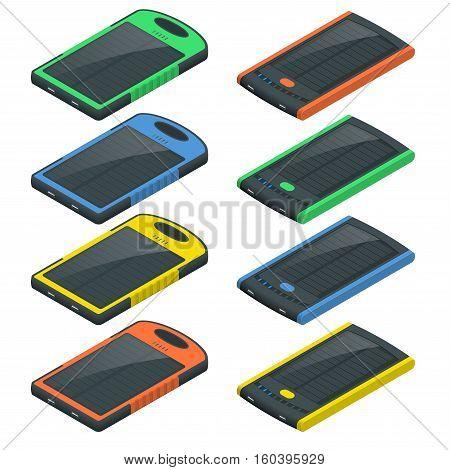 Isometric built-in solar panel for Charging smartphone. Modern alternative energy. Ecological energy. Vector illustration
