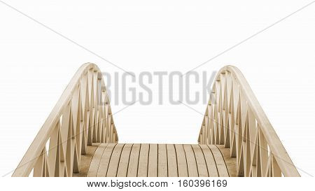 Wooden Park Foot Bridge Isolated On White Background