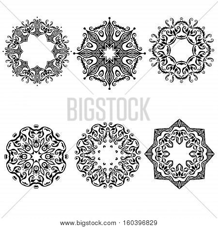 Mandala set six  black mandalas for Coloring