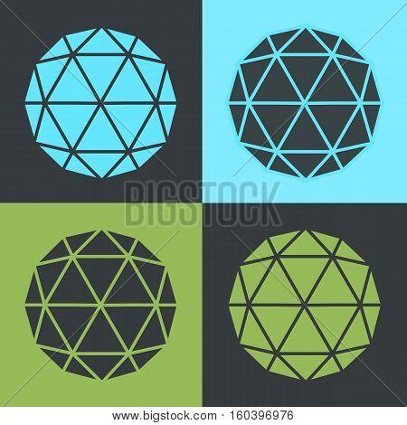 Vector Triangle Cubic Balls Flat Design Set Illustration
