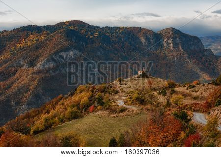 Chapel Vaznesenie Gospodne in the autumn, the village of Borovo, Bulgaria