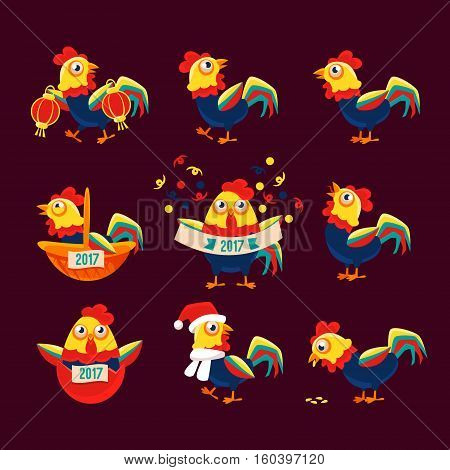 Rooster Cartoon Character Set With A Cock Representing Chinese Zodiac Symbol Of New Year 2017. Astrologic Yearly Mascot Animal With Winter And Holiday Attributes Collection Of Vector Illustrations.