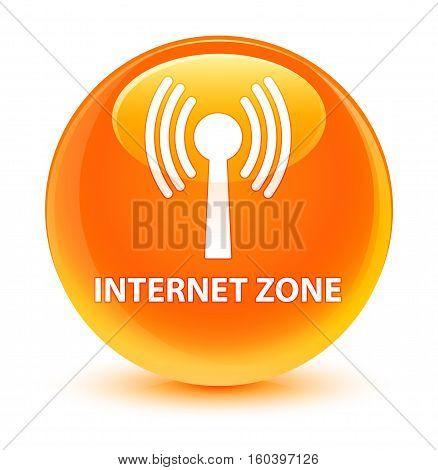 Internet Zone (wlan Network) Glassy Orange Round Button