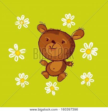 vector illustration of kiddy cute teddy bear