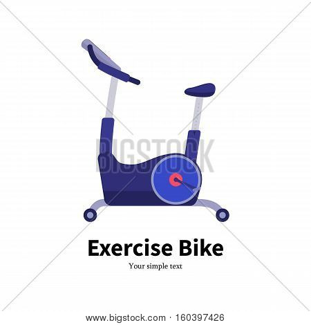 Vector illustration cartoon exercise bike. Isolated on white background. Flat style. Side view, profile. Icon Bicycle Simulator. Training apparatus for legs. Stationary bike.