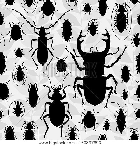 Seamless Pattern With Silhouette Of Bugs.