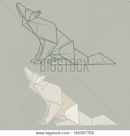Set vector simple illustration paper origami and contour drawing of wolf.