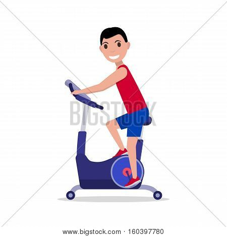 Vector illustration cartoon sport man on a exercise bike. Isolated on white background. Flat style. Side view, profile. Boy on Bicycle Simulator. Training apparatus for legs. Male on Stationary bike.