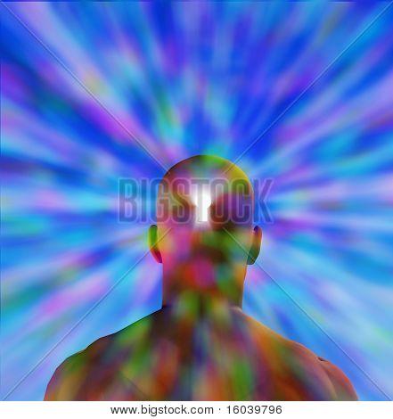 Hi-Res Key hole in mans head radiating light