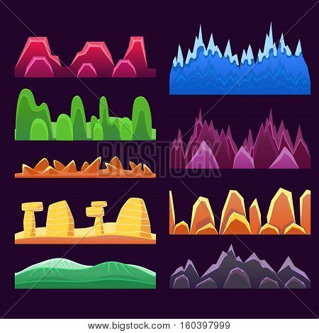 Alien Mountains And Colorful Desert Landscaping Seamless Background Patterns For 2D Platformer Game Design. Set Of Templates For Landscape Creation In Bright Colors Flat Vector Elements.