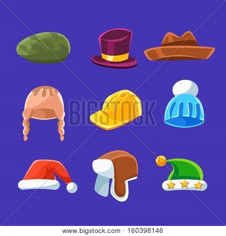 Different Types Of Hats And Caps, Warm And Classy For Kids And Adults Set Of Cartoon Colorful Vector Clothing Items. Winter And Autumn Male Headpieces In Childish Bright Colors Collection Of Illustrations.