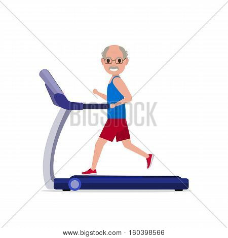 Vector illustration cute cartoon grandfather running on treadmill. Sporty old man on training apparatus running track. Isolated white background. Flat style. Side view, profile. Grandpa on simulator.