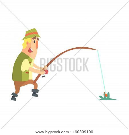 Amateur Fisherman In Khaki Clothes Seeing The Fish To Take The Bait Cartoon Vector Character And His Hobby Illustration. Man On His Leisure Outdoors Fishing Trip Wearing Typical Outfit Vector Funny Drawing.
