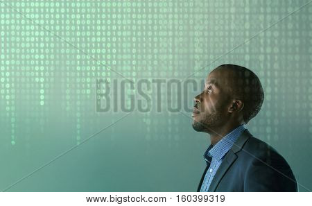 African business man with hologram binary code Algorithm binary, data code, decryption, encoding, row matrix