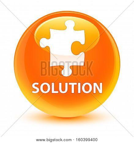 Solution (puzzle Icon) Glassy Orange Round Button