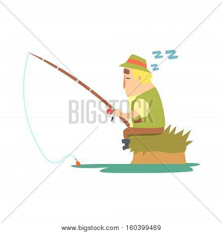 Amateur Fisherman In Khaki Clothes Sleeping On River Bank With Fishing Rod Cartoon Vector Character And His Hobby Illustration. Man On His Leisure Outdoors Fishing Trip Wearing Typical Outfit Vector Funny Drawing.
