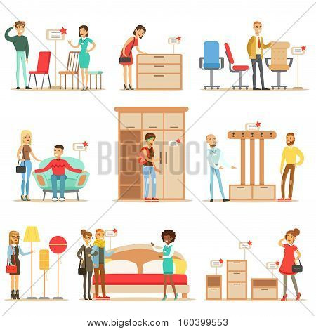 Smiling Shoppers In Furniture Shop, Shopping For House Decor Elements With Help Od Professional Department Store Sellers. Set Of Scenes With People Selling Home Design Items To Clients OF The Mall Vector Illustrations.