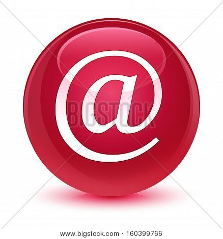 Email Address Icon Glassy Pink Round Button