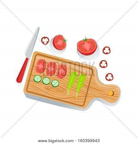 Cut Tomato, Cucumber And Salad On Cutting Board Fresh Organic Vegetables Illustration With Farm Grown Eco Products. Vegetarian Bio Food And Healthy Diet Element Cartoon Vector Drawing.