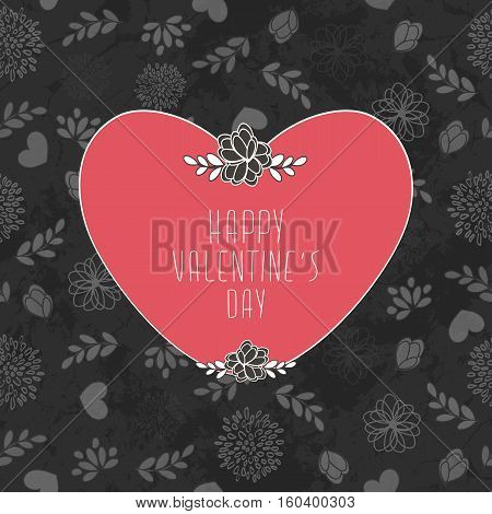 Valentine's Card With Seamless Pattern With Hearts Flowers And Leaves
