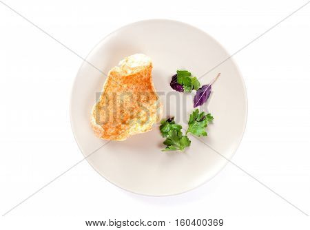 Molecular modern cuisine. Chips Pigskin on plate. Stock image. Isolated on white.