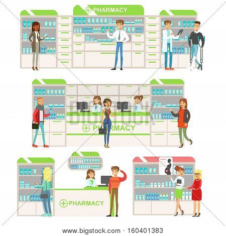 Smiling People In Pharmacy Choosing And Buying Drugs And Cosmetics Collection Of Drugstore Scenes With Pharmacists And Clients. Vector Cartoon Illustrations With Cute Characters Shopping And Selling Medicines.