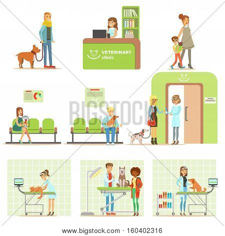 Smiling Cartoon Characters Bringing Their Pets For Vet Examination In Veterinary Clinic Set Of Illustrations. Happy Pet Owners And Veterinary Specialists Attending Their Animals In Medical Office.