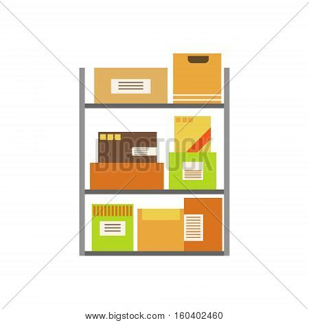 Paper Box Packages Piled In The Warehouse Stored For Later Shipment And Delivery On Metal Shelves. Part Of Storehouse And Logistic Service Depository Collection Of Vector Illustrations.