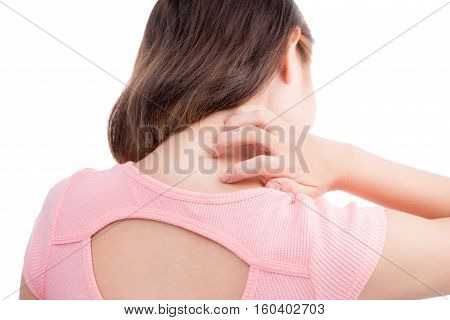Asian woman scratch the itch with hand neck itching.