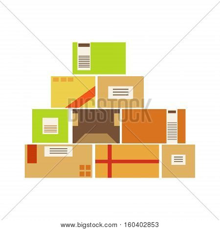 Paper Box Packages Piled Up In The Warehouse Stored For Later Shipment And Delivery. Part Of Storehouse And Logistic Service Depository Collection Of Vector Illustrations.