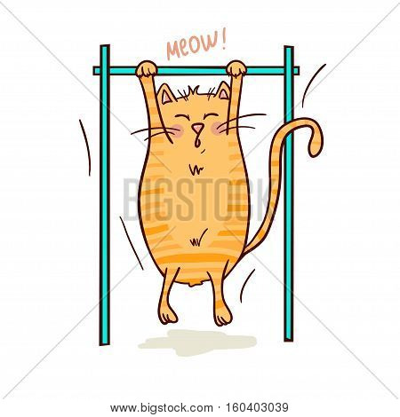 Cute funny cat doing pull ups. Vector illustration. Healthy lifestyle and sport image