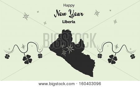 Happy New Year Illustration Theme With Map Of Liberia