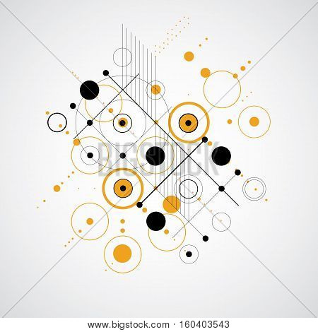 Vector Abstract Background Created In Bauhaus Retro Style. Modern Geometric Composition Can Be Used
