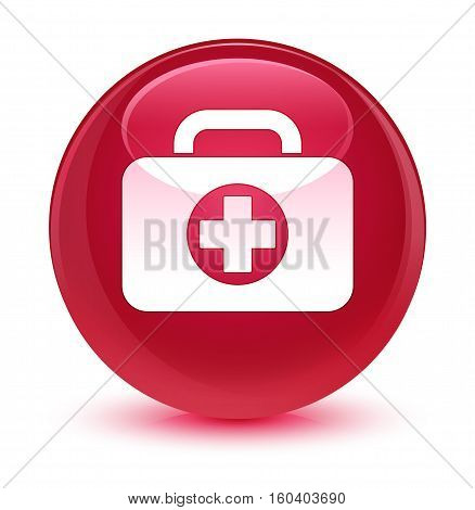 First Aid Kit Bag Icon Glassy Pink Round Button