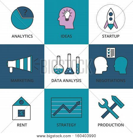 Stock Vector Linear icon Business Development. Stock vector