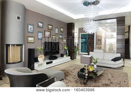 Russia,Moscow region -  living room interior design in luxury country house