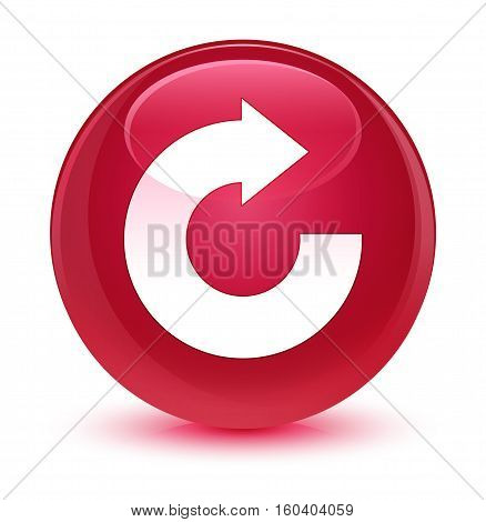 Reply Arrow Icon Glassy Pink Round Button