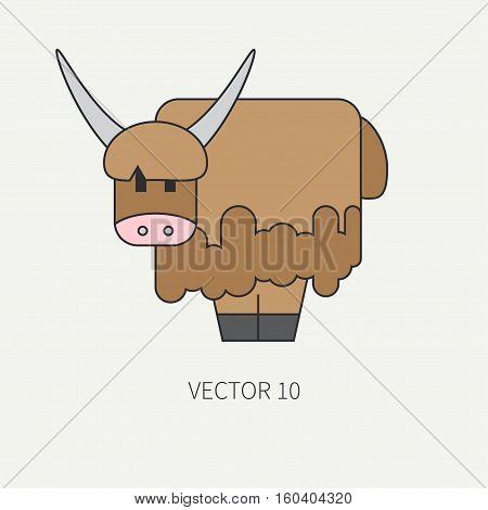 Flat line color vector icon with cute animal for baby products - yak. Cartoon style. Childrens doodle. Babyhood. Newborn. Vector illustration and element for your design, wallpaper. Zoo. Kids. Farm.
