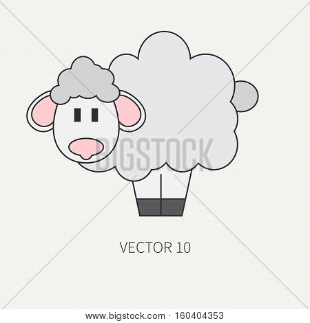 Flat line color vector icon with cute animal for baby products - sheep. Cartoon style. Childrens doodle. Babyhood. Newborn. Vector illustration and element for your design, wallpaper. Zoo. Kids. Farm.