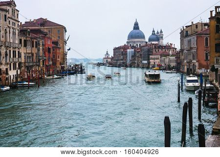 Grand Canal In Venice City In Rainy Autumn Day