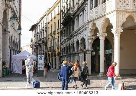 People On Street In Padua Town