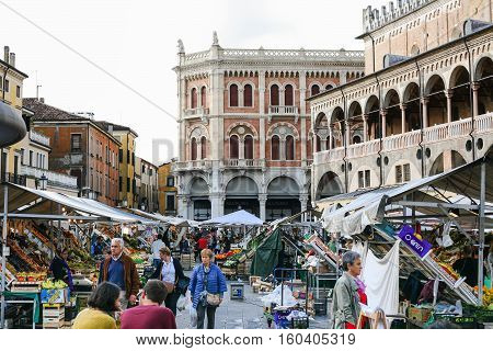People On Street Market On Square In Padua Town