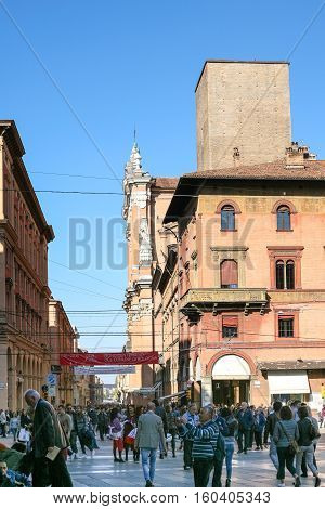 People On Piazza Maggiore Square In Bologna City