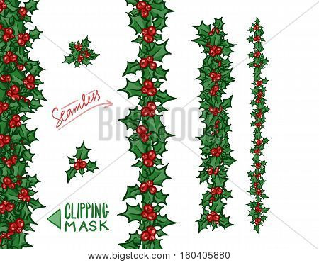 Holly borders and garlands. Vector hand drawn design elements, set for Christmas and New Year greeting card or banner. Holly with berry, isolated on white