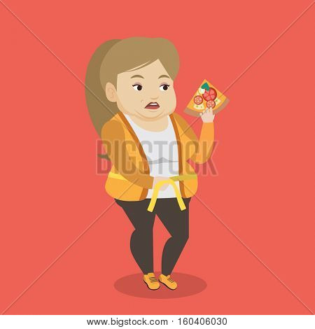 Fat caucasian woman with slice of pizza in hand measuring a waistline. Fat woman measuring a waistline with tape. Fat woman with centimeter on waistline. Vector flat design illustration. Square layout