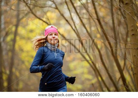 Young female running in morning
