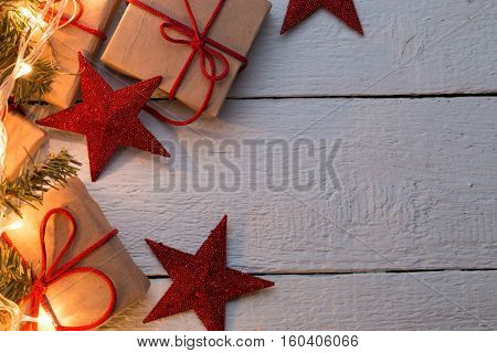 Presents in cartons, red stars