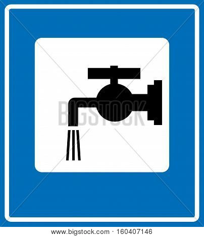 Water tap sign.Road symbol isolated on white in blue, black silhouette of tap. Vector illustration for public places and traffic