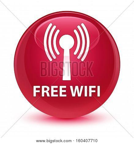 Free Wifi (wlan Network) Glassy Pink Round Button